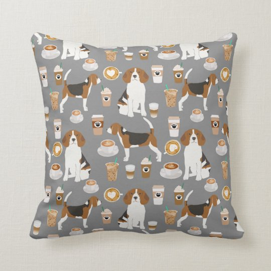 Beagles Coffee pillow cute dog design