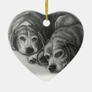 Beagles Drawing Dog Animal Art Ceramic Heart Decoration