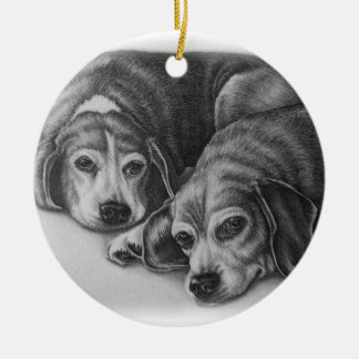 Beagles Drawing Dog Animal Art Christmas Ornament