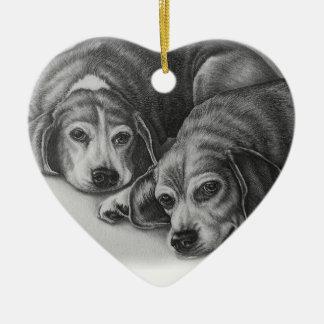 Beagles Drawing Dog Animal Art Christmas Ornament