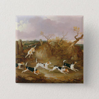 Beagles in Full Cry, 1845 (oil on canvas) 15 Cm Square Badge