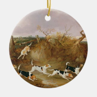 Beagles in Full Cry, 1845 (oil on canvas) Round Ceramic Decoration