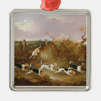 Beagles in Full Cry, 1845 (oil on canvas) Silver-Colored Square Decoration