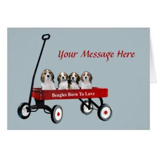 Beagles In Wagon Greeting Card