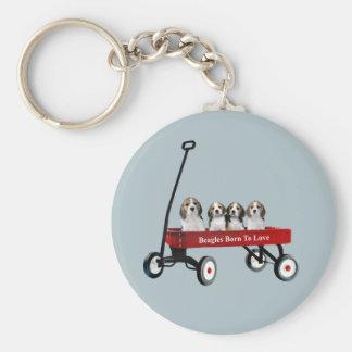 Beagles In Wagon Keychain