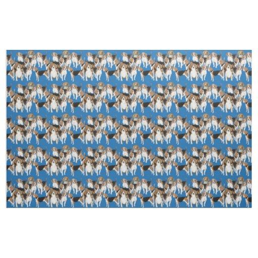 Beagles on Blue fabric