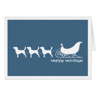 Beagles Pulling Santa's Sleigh Card