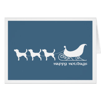 Beagles Pulling Santa's Sleigh Greeting Card