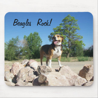 Beagles Rock Mouse Pad Featuring Cooper