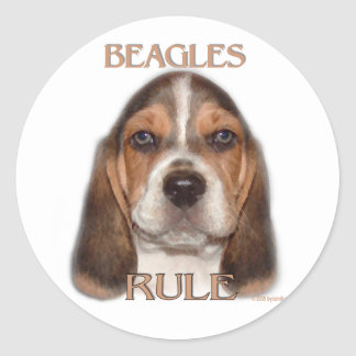 Beagles Rule! Classic Round Sticker