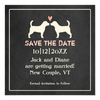 Beagles Wedding Save the Date 13 Cm X 13 Cm Square Invitation Card