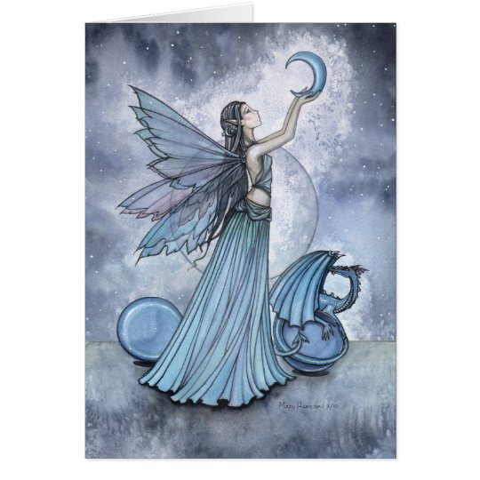 Beaituful Blue Fairy Dragon Card by Molly Harrison