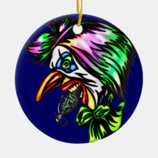 Beak Nose Evil Clown Round Ceramic Decoration