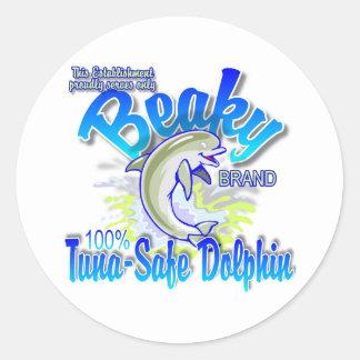 Beaky Brand Tuna-Safe Dolphin Round Sticker