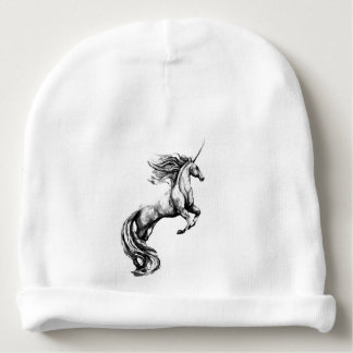 Beanie Hat w/ Greyscale Unicorn for Baby Baby Beanie