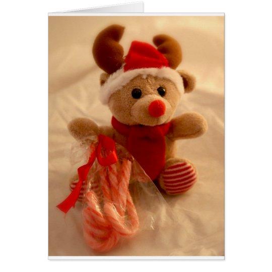 Beanie reindeer & candy cane card