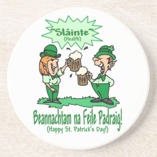 BEANNACHTAM NA FEILE PADEAIG Happy St Patricks Day Beverage Coasters