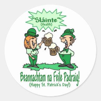 BEANNACHTAM NA FEILE PADEAIG Happy St Patricks Day Round Sticker