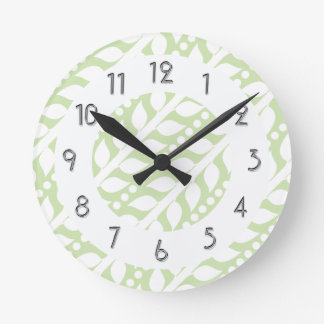 Beanstalk Leaves and Dots - Lime White Round Clock
