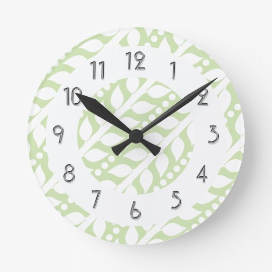 Beanstalk Leaves and Dots - Lime White Round