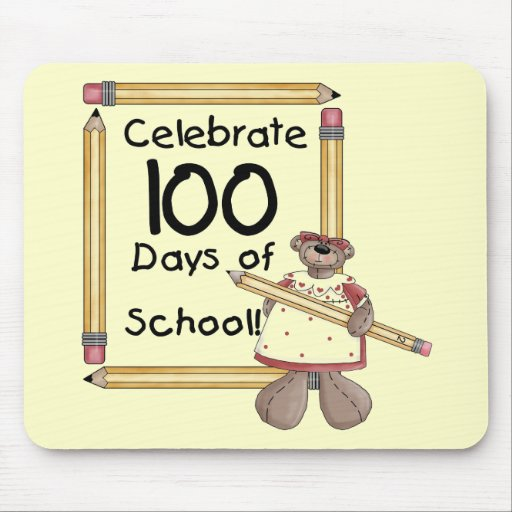 Bear 100th Day of School Tshirts and Gifts Mouse Mat