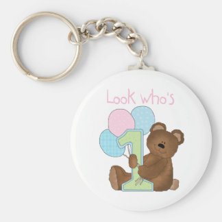 Bear 1st Birthday Pink Tshirts and Gifts Basic Round Button Key Ring