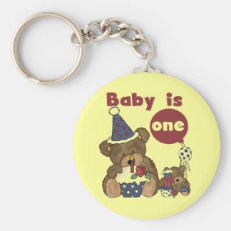 Bear 1st Bortjdau Blue Tshirts and Gifts Basic Round Button Key Ring