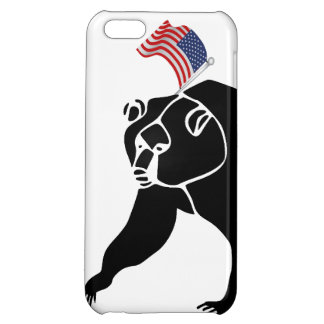 Bear and American Flag Case For iPhone 5C