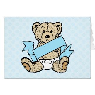 Bear and Blue Ribbon Greeting Card