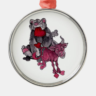 Bear and Bull Round Metal Christmas Ornament