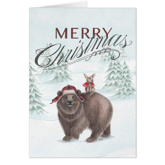 Bear and Bunny Christmas Card
