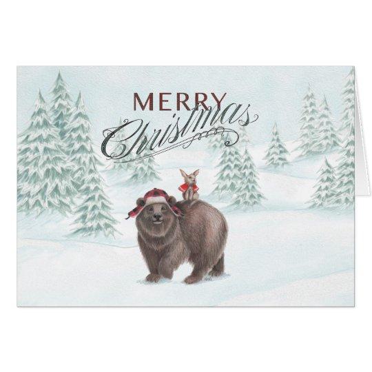 Bear and Bunny Christmas Card Horizontal