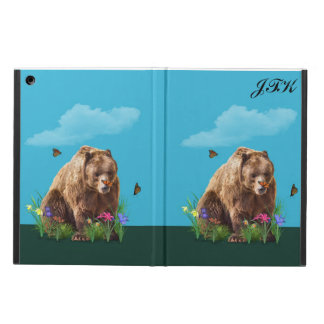 Bear and Butterflies, Customizable Monogram iPad Air Cover