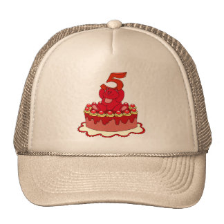 Bear and Cake 5th Birthday Gifts Cap