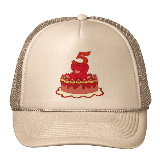 Bear and Cake 5th Birthday Gifts Trucker Hat