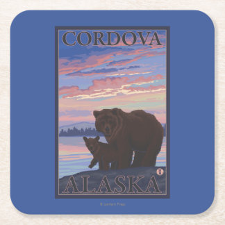 Bear and Cub - Cordova, Alaska Square Paper Coaster