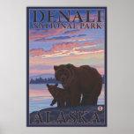 Bear and Cub - Denali National Park, Alaska Poster