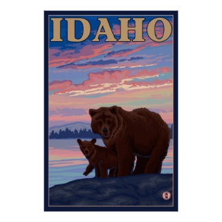 Bear and Cub - Idaho Poster