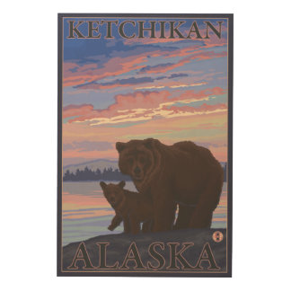 Bear and Cub - Ketchikan, Alaska Wood Print