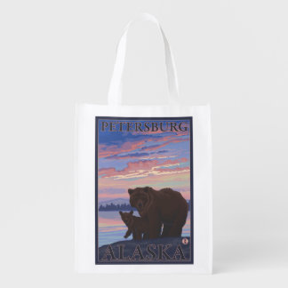 Bear and Cub - Petersburg, Alaska Reusable Grocery Bag
