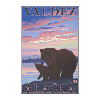 Bear and Cub - Valdez, Alaska Gallery Wrapped Canvas