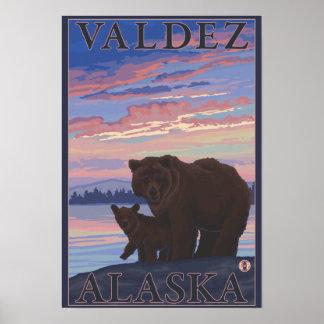 Bear and Cub - Valdez, Alaska Poster