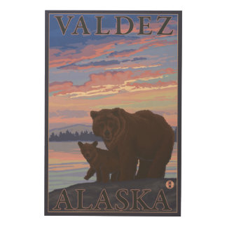 Bear and Cub - Valdez, Alaska Wood Print