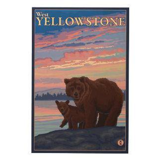 Bear and Cub - West Yellowstone, Montana Wood Wall Art