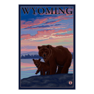 Bear and Cub - Wyoming Poster
