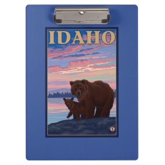 Bear and CubIdahoVintage Travel Poster Clipboard