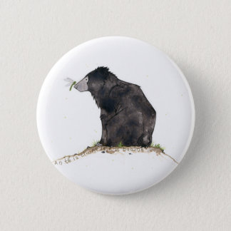 Bear and Dragonfly 6 Cm Round Badge