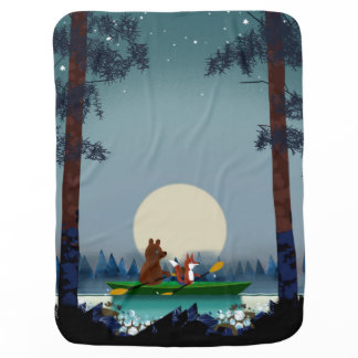 Bear and Fox kayaking on a wild forest river Baby Blanket