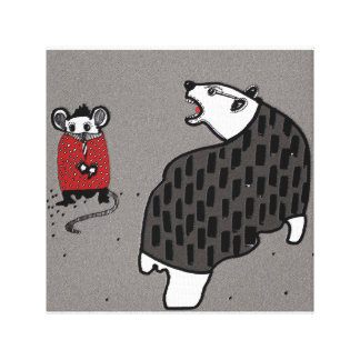 Bear and mouse canvas print