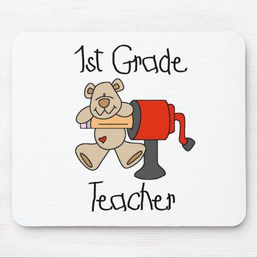 Bear and Sharpener 1st Grade Teacher Mouse Pad